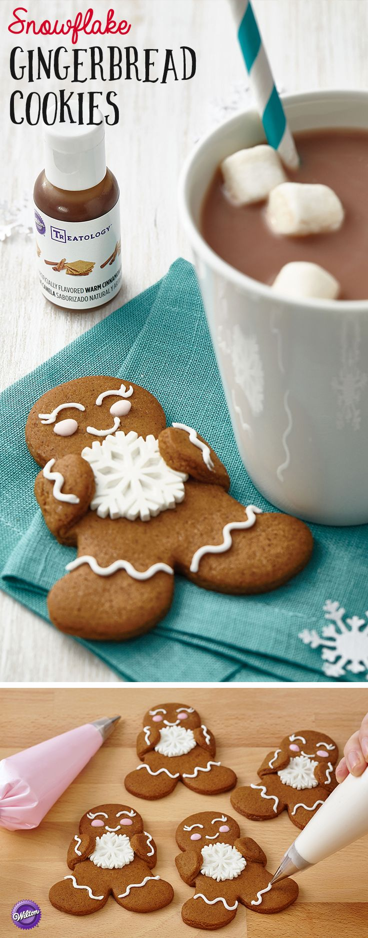 Snowflake Gingerbread Cookies - This team of gingerbread treats is happily showing their winter spirit with Wilton Royal Snowflake Icing Decorations. Simple lines, dots and swirls of royal icing give each treat a personality of its own.
