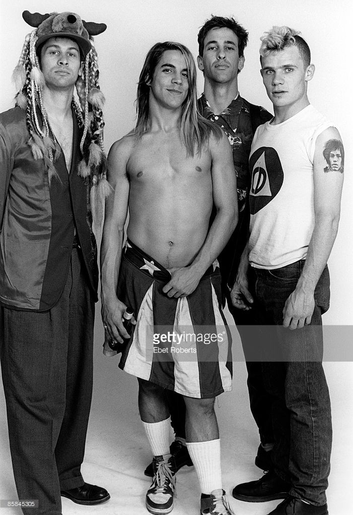 Photo of RED HOT CHILI PEPPERS, Cliff MARTINEZ and FLEA and Hillel SLOVAK and Anthony KIEDIS; L-R: Cliff Martinez, Anthony Kiedis, Hillel Slovak, Flea - posed, studio, group shot