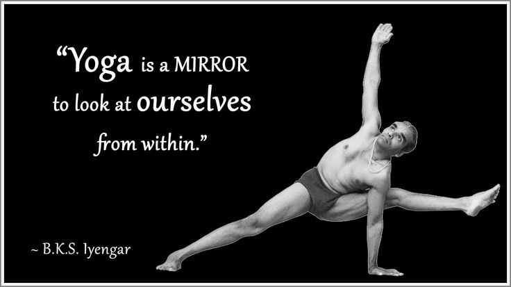 "BKS Iyengar Yoga Quote: ""Yoga is a mirror to look at ourselves from within."" .... #BKSIyengar #Inspirational #LifeQuote #YogaBenefits #YogaForAll"