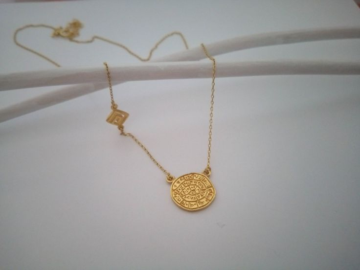 Ancient greek ,phaisto's disk,golden plated silver925, squared spiral, with thin chain necklace. by polasoeljewelry on Etsy
