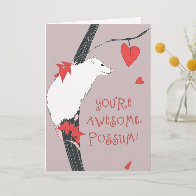 Awesome Possum Valentine Holiday Card Zazzle Com In 2020 Valentine Holiday Holiday Design Card Valentines Cards