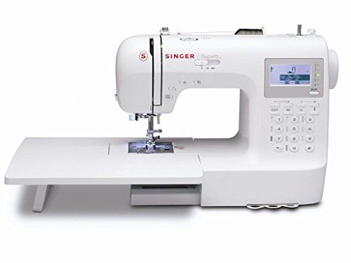 The SINGER Superb sewing machine exceeds all of your creative sewing needs. Features including programmable needle up/down for quilting and appliqueing drop feed for free motion sewing 4 memory modu...