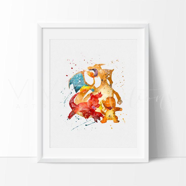 Charmander, Charmeleon & Charizard, Pokemon Evolution Baby Boy Nursery Art Print Wall Decor