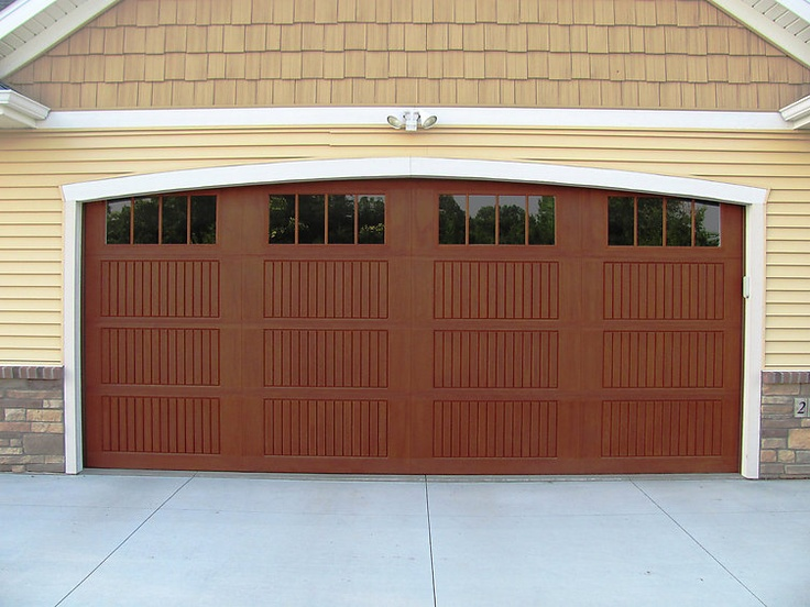 Impression Collection Model 983 Cherry Stain Vertical Slat Panel Design with 8 Vertical Windows. Fiberglass Garage DoorsWood ... & 7 best Impression Collection images on Pinterest | Fiberglass garage ...