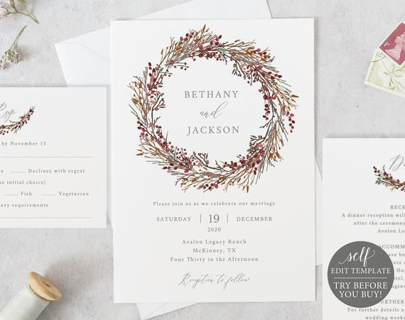 Winter Wedding Invitation Template Set TRY BEFORE You BUY 100