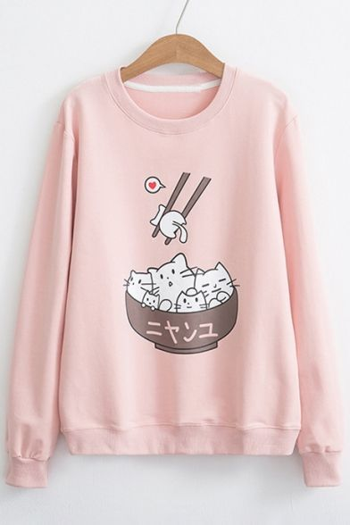 Funny Cartoon Bowl Chopsticks Print Long Sleeve Pullover Sweatshirt – #Bowl #car… #Bernard