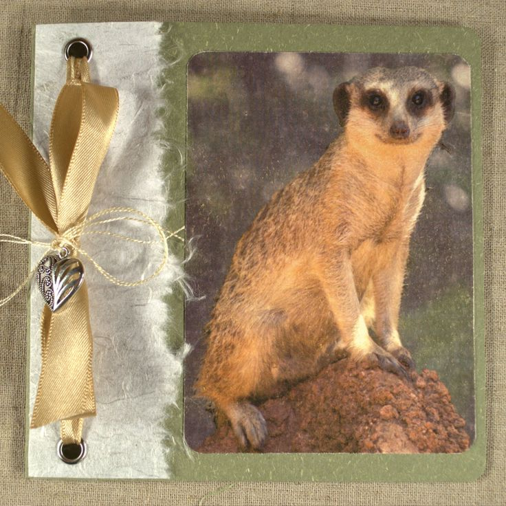 Distressed Style Photo of Meerkat on Thank You Card. Ornate silver heart charm. Satin bone ribbon, handmade white cotton paper. OOAK.