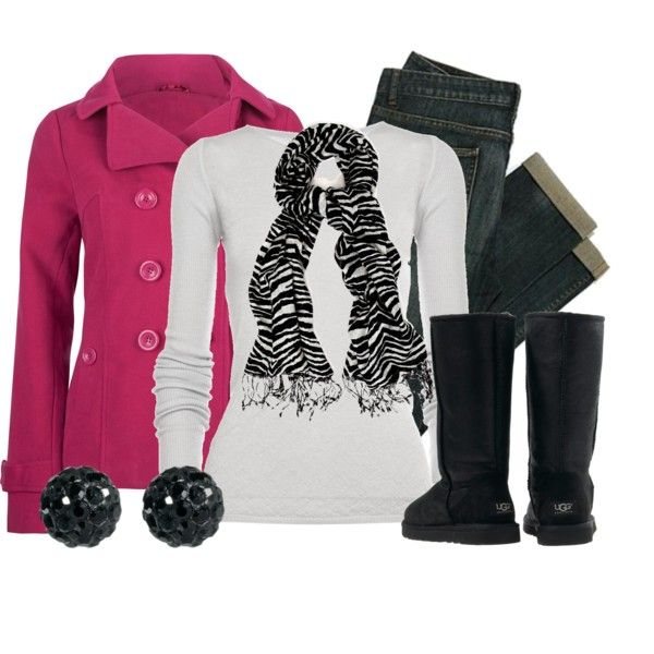 Winter Outfit: Women Outfit, Ugg Boots, Outfit Ideas, Pink Zebras, Clothing, Fashionista Trends, Jackets, Winter Outfit, Coats
