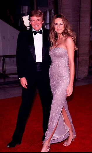 Long before becoming Mrs. Trump, Melania in a shimmering gown beside Donald at the 27th annual Fifi Fragrance Awards in 1999. Photo: Evan Agostini/Getty Images
