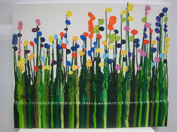 Great Auction Idea! Shades of green crayon melted onto a museum canvas.  Each child chose a color and placed their thumb print throughout the field. K3 project.