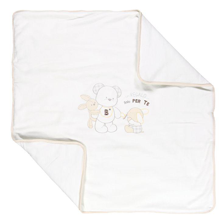 Coperta bianca ciniglia con orsettoDa Neonato   Abbigliamento Store