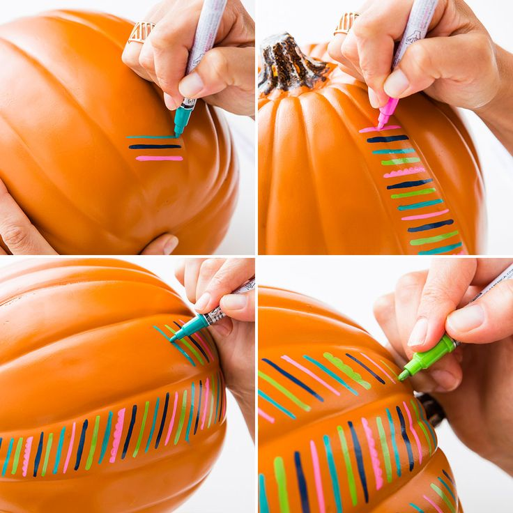 Decorate your pumpkins with paint pens for Halloween.