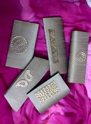Pure silk Clutch bags with dokra ornamentation
