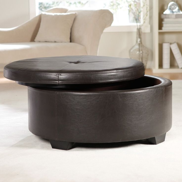 Round Leather Ottoman With Drawers