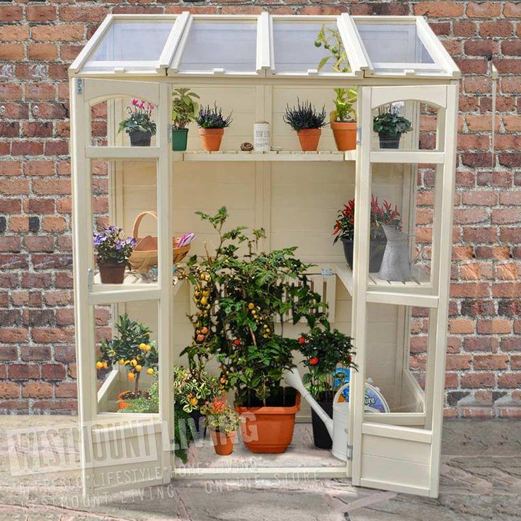 """4'10"""" x 2'5"""" FT (1.5 x 0.7m) Wooden Victorian Tall Wall Mini Greenhouse"""