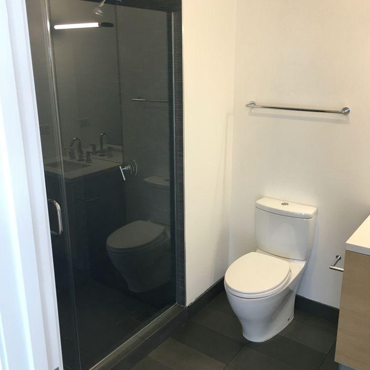 "Hall bathroom  Door to shower on left: 2'2"" Door to wall with mirror on right: 6'7"""