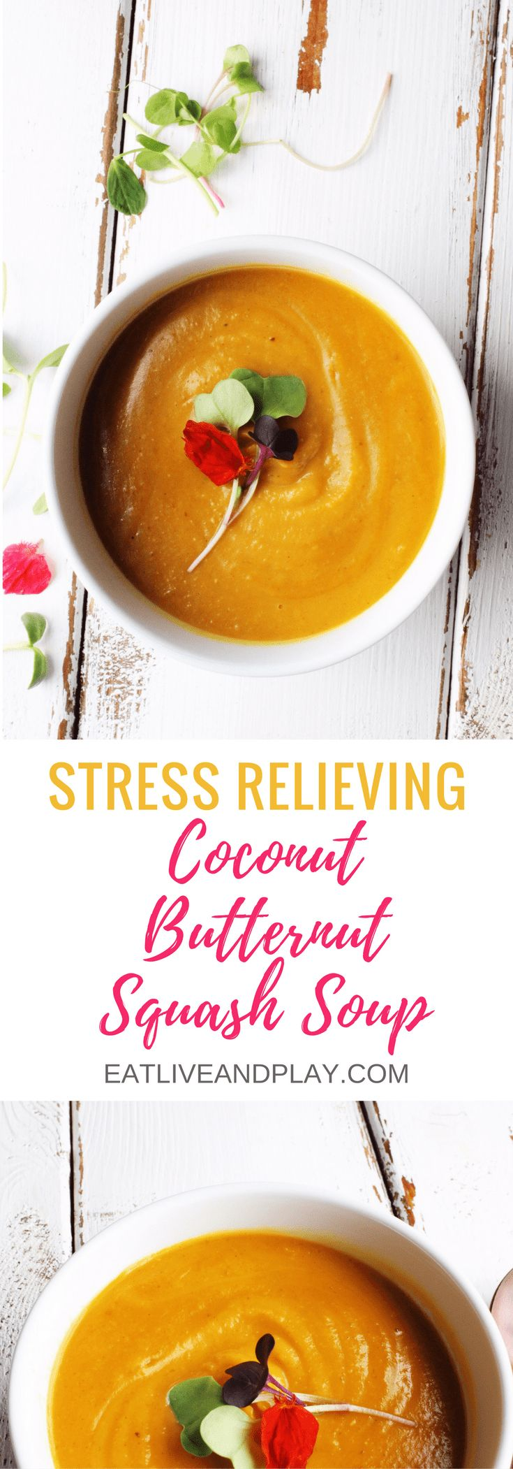 This stress busting butternut squash soup is so unbelievably smooth and creamy and bursting with flavour that's it's hard to believe it's healthy.