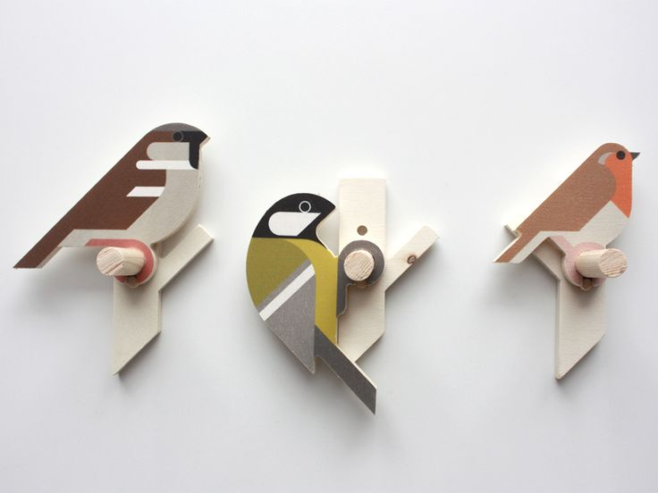 I turn some of my bird designs into small wooden wall hooks. These are a Sparrow, Great tit and Robin. Printed on plywood, than CNC milled and assembled. Bird and branch are separate pieces, so one...