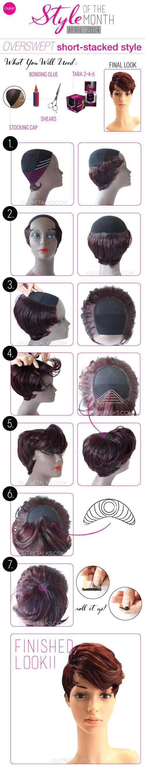 how to create a unique short style stocking cap weave with Velvet Tara Burgundy color
