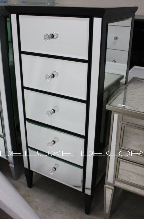 Clair Black Edge Silver Mirrored Mirror 5 Drawer Narrow Chest 2299B http://deluxedecor.com.au/products-page/clair-collection/clair-black-edge-silver-mirrored-mirror-5-drawer-narrow-chest-2299b/