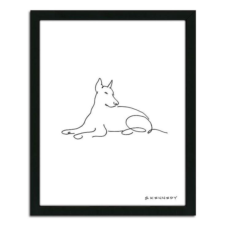 Doberman Framed Line Drawing Line Drawing Doberman Dog Line