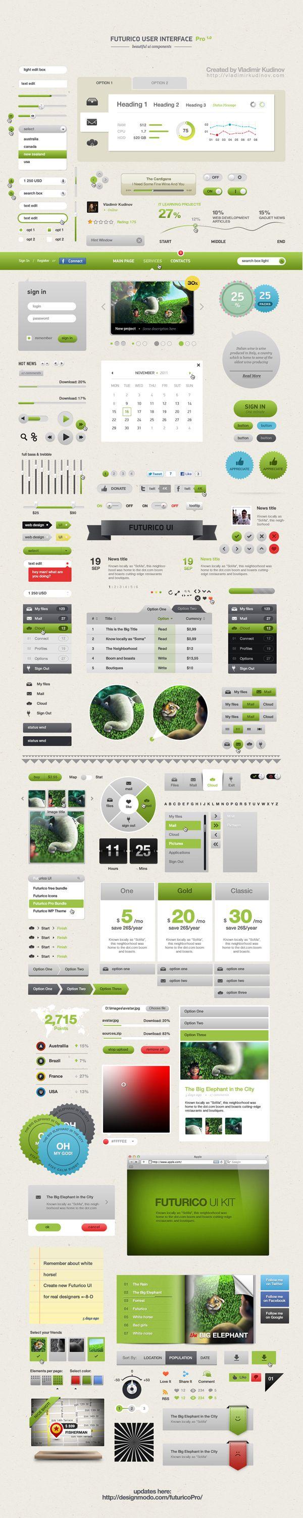 Futurico User Interface Pro by Vladimir Kudinov, via Behance