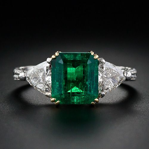 circa 1930s 2.34 Carat Emerald and Diamond Three-Stone Ring LOVE