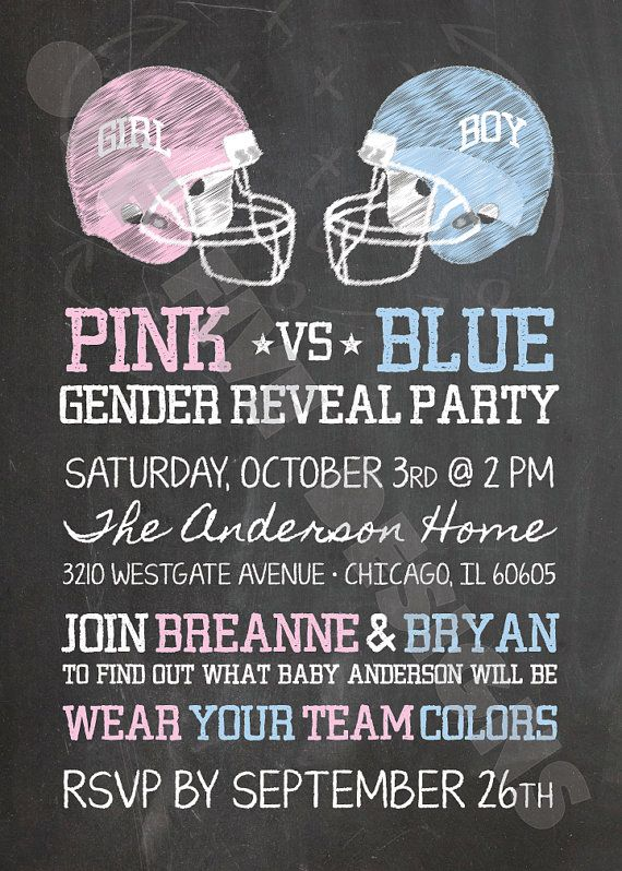 Chalkboard Football Theme Gender Reveal Party - Team Pink vs. Team Blue - Printable Invitation (5x7)    Customized invitation is supplied to you