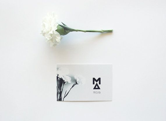 Carnation Wedding logo  Monogram black and white by MessProject, €12.00  #weddinginvitation #weddingprint #wedding #invitation #diy #piy #monogram #savethedate