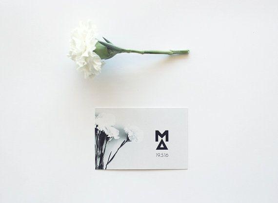 Carnation Wedding logo  Monogram black and white by MessProject, €12.00  #weddinginvitation #weddingprint #wedding #invitation #diy #piy #monogram #savethedate
