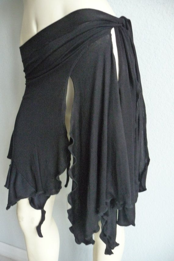 Pixie Skirt / Belly Dance - Scarf - Belt - Skirt  black Rayon----mutliple Option's to wear it---Cover up - must see on Etsy, $21.90