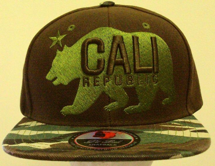 NEW CALI CA CALIFORNIA REPUBLIC FLAG BEAR CAP HAT SNAPBACK BROWN WOODLAND CAMO #PREMIUMHATS #BaseballCap