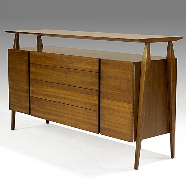 Gio Ponti; Walnut Credenza for Singer & Sons, 1950s.