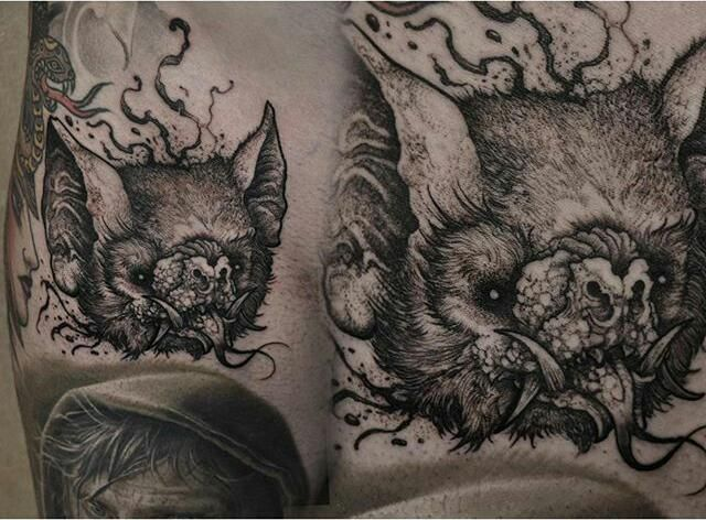 Bat head by Robert Borbas (@ grindesign) #kwadron #tattoome #h2oceanproteam