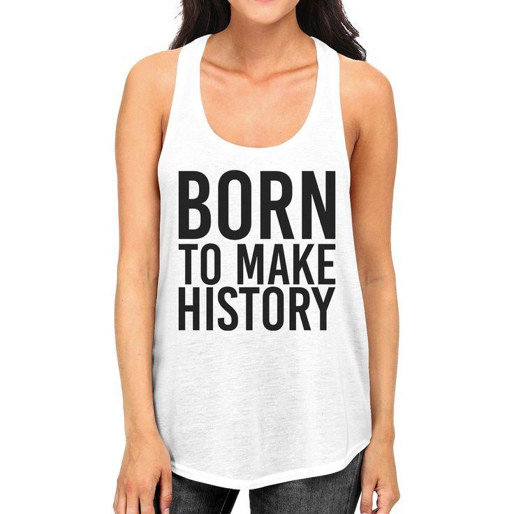 Born To Make history Womens White Sleeveless Tank Top Yuri On Ice