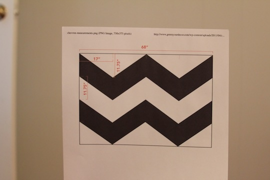 get chevron templates from online- thank freaking goodness because I was not excited about trying to come up with my own using tape or something!!