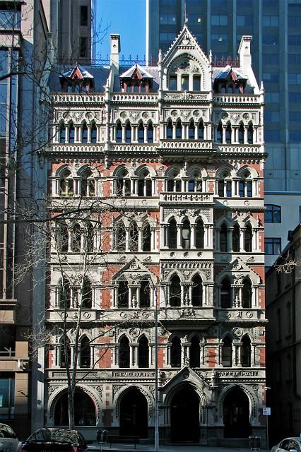 The Old Melbourne Safety Deposit Building Gothic architecture designed by William Pitt 1890 Queen St. Melbourne. Australia