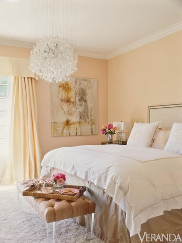Perfect Peach Bedroom – Wall color and tonal drapes. Spare bedroom ideas