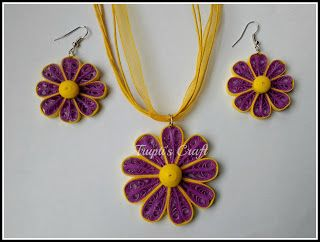 Trupti's Craft: Purple Yellow Paper Quilling Jewelry Set
