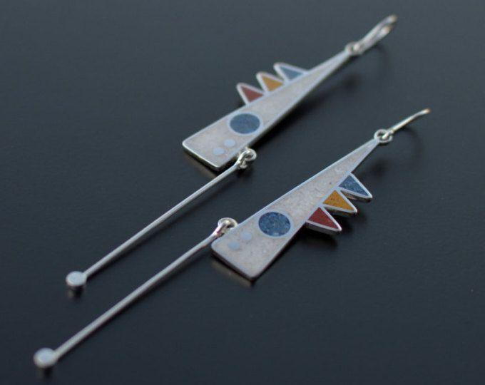 Argento orecchini, gioielli moderni, orecchini geometrici, Design contemporaneo, Tribal, ciondola, pendolo