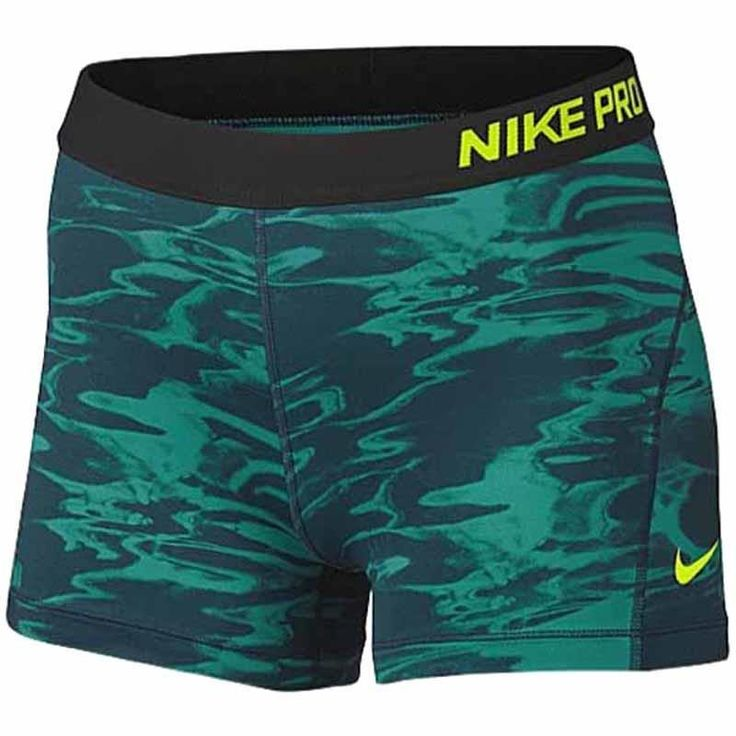 "Nike Women Pro Cool Compression 3.5"" Training Shorts SZ L Green Black 849310-399 #Nike #Socks"