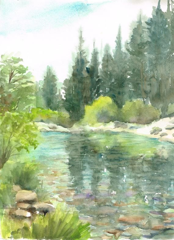 Custom Landscape Watercolor With Images Watercolor Scenery Watercolor Landscape Watercolor Paintings