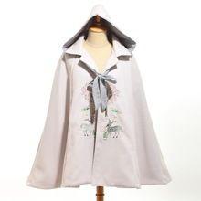 Vrouwen Vintage Chinese Stijl Lolita Cape Leuke Herten Geborduurde Hooded Mantel Jas Kerstcadeau(China)