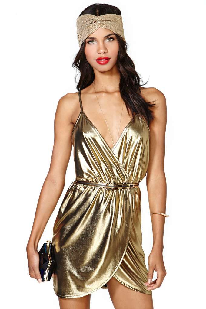 Nasty Gal Gold Rush Dress || with a jean jacket and black heels, can you see it?