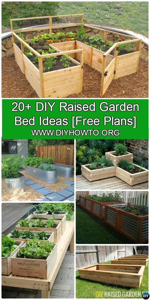 More than 20 #DIY Raised Garden Bed Ideas Instructions [Free Plans] from Cinder block garden bed to wood garden bed and garden tower! #Gardening-->> http://www.diyhowto.org/diy-raised-garden-bed-ideas/