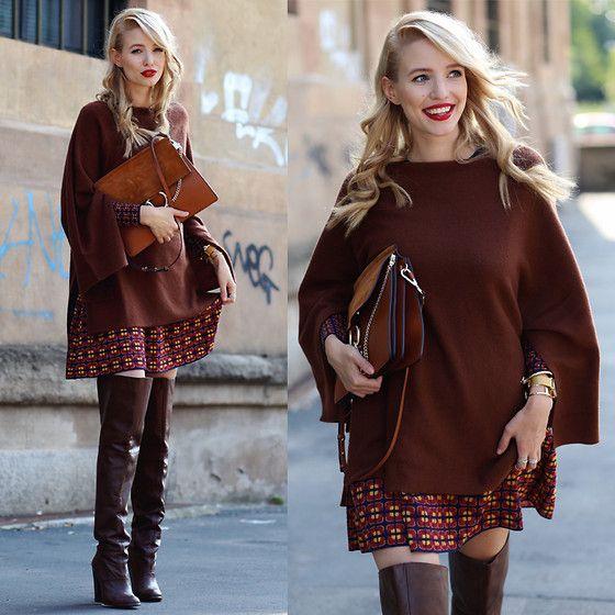 Leonie Hanne - Overknees, Mmissoni Dress, Larsson & Jennings Watch, Chloé Bag, Sweater - Mmissoni & Autumn shades | #MFW