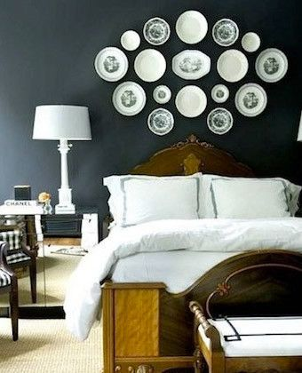 Charming 5 DIY Ideas For Decorating Over The Bed   Patterned China Plates! Http:/