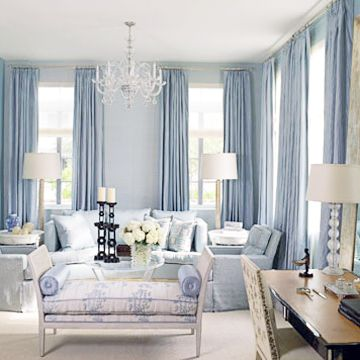 Bedroom Bliss: a master sitting room in blues and purples