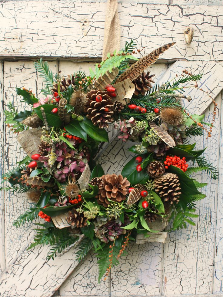 Natural Christmas door wreath.