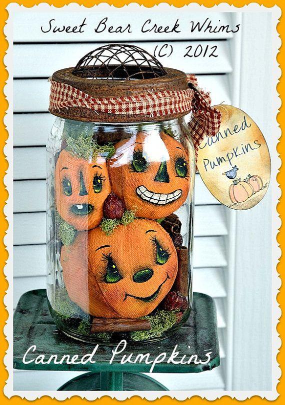 Primitive Pumpkin Pattern Fall Canned by SweetBearCreekWhims, $6.50 I like the idea. Would like the pumpkins to be more primitive